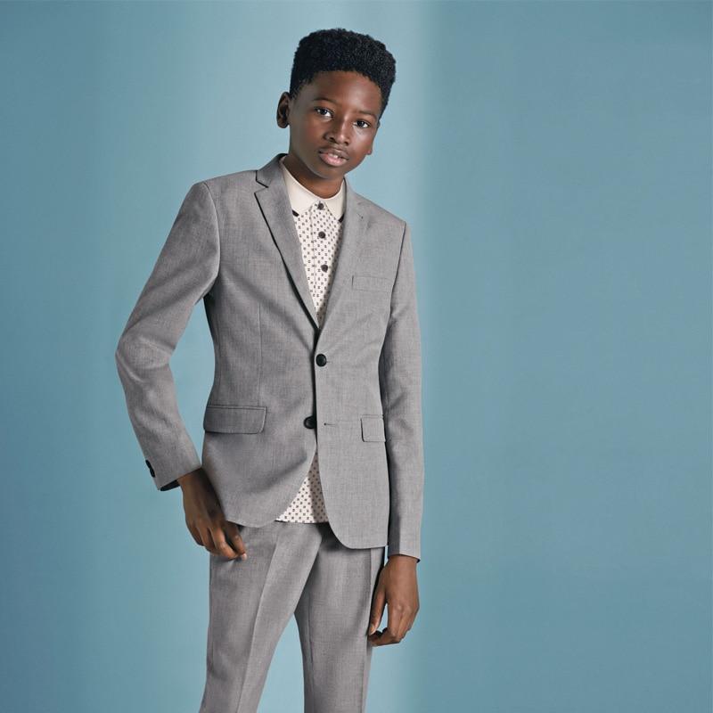 Custom Made Gray Boys Pants Suits 2 Pieces Set Tuxedos for Wedding Dinner Children Kids Tuxedo