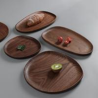 Whole Wood Lovesickness Wood Irregular Oval Solid Wood Pan Plate Fruit Dishes Saucer Tea Tray Dessert Dinner Plate Tableware|Dishes & Plates|   -