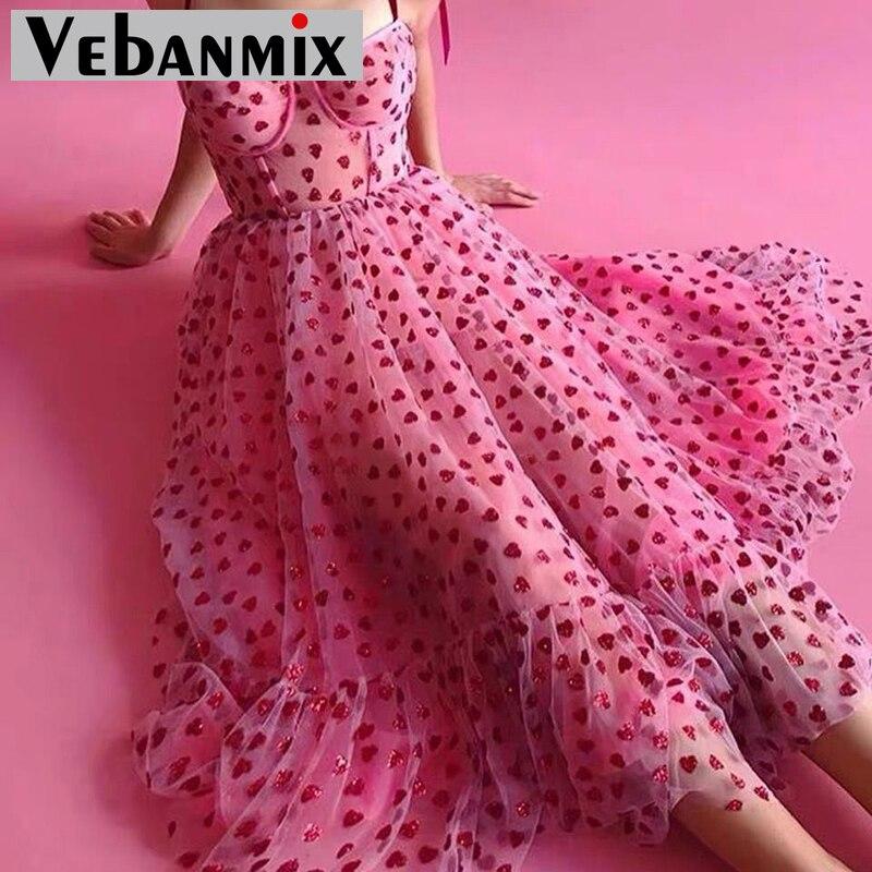 Bow Tied Strap Mesh Dress Women Spaghetti Strap Midi Party Dress Summer 2020 Elegant Ladies Casual Dresses Spaghetti Strap