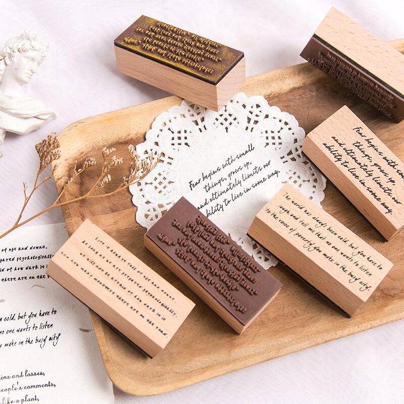 JIANWU Creative Alphabet Phrase Wooden Rubber Stamps Diy Stamps For Scrapbooking  Bullet Journal Supplies Standard Seal