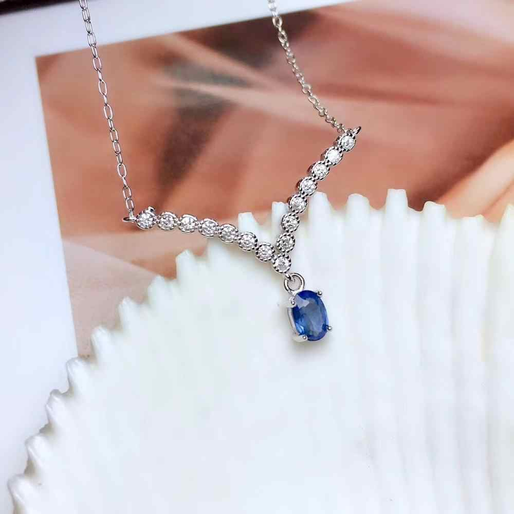 Natürliche blau Sri Lanka Sapphire Halskette Natürliche edelstein Anhänger Halskette 925 splitter Elegante schöne Lächelndes frauen geschenk Schmuck