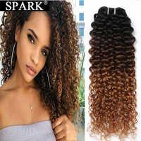 Spark Three Tone Ombre Brazilian Human Hair Kinky Curly Hair Bundles Extensions 8-26inch 1/3/4 PCS Remy Human Hair Weaving 1B/30