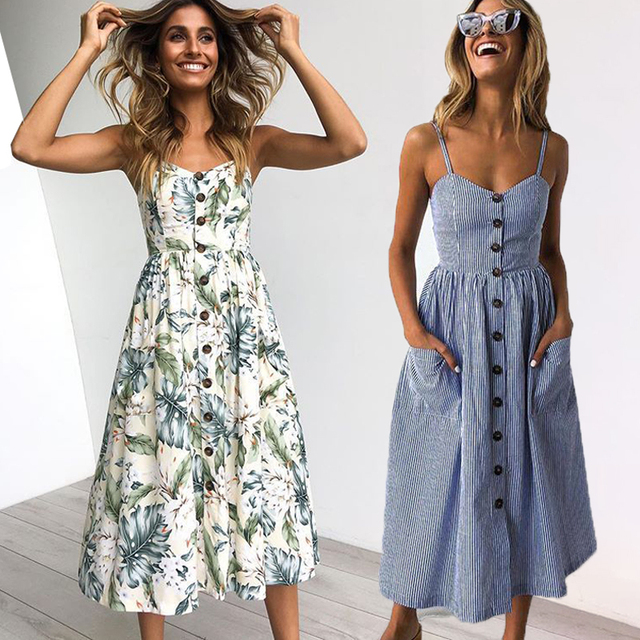 Vintage Casual Sundress Female Beach Dress
