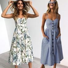 Vintage Casual Sundress Female Beach Dress Midi Button Backless Polka Dot Striped Women Dress Summer 2020 Boho Sexy Floral Dress
