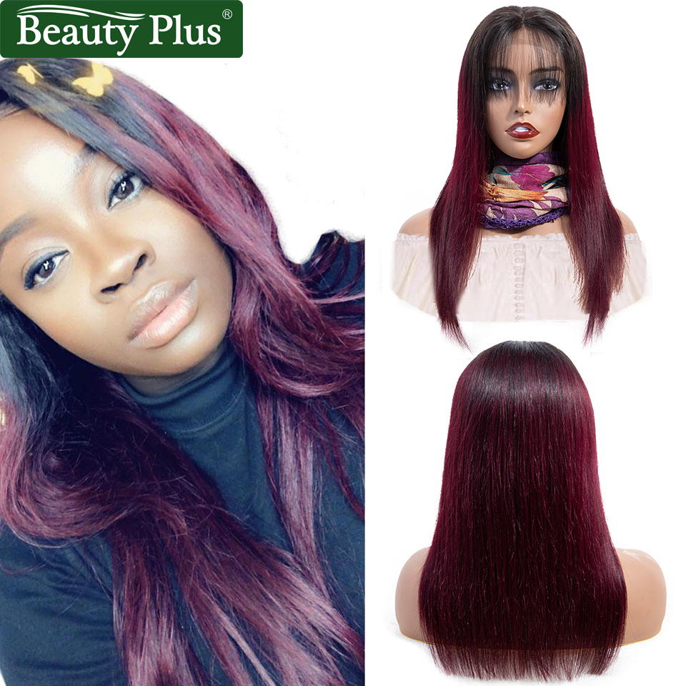 99J Lace Closure Wig 4x4 Honey Blonde #27 #30 Remy Brazilian Straight Hair Pre Plucked Burgundy Ombre Human Hair Wigs For Women