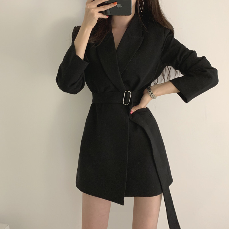 Office Lady Suit Women Spring Winter 2020 Fashion Leisure Wild Long-sleeved Jacket Female Korean Slim Elegent Short Black Coat