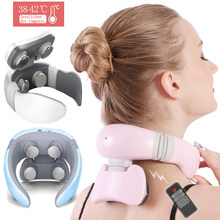 Smart 4D 6 Modes Electric Neck Massager Pulse Back Power Control Far Infrared Massage Pain Relief Tool Health Care Nekmassage