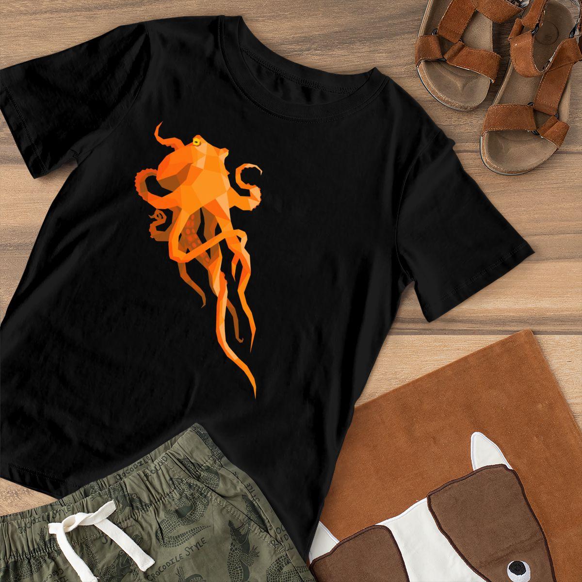 Aquatic T-Shirt Geometric Octopus T Shirt Trendy O Neck Women tshirt Pattern Black Ladies Tee Shirt