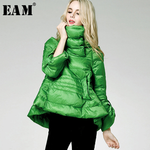 Image 1 - [EAM] Loose Fit Multicolor Green Down Jacket New Stand Collar Long Sleeve Warm Women Parkas Fashion  Spring Autumn 2020 1B811