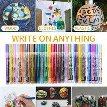 Marqueurs de peinture acrylique 28 couleurs/ensemble, marqueurs artistiques pour écriture sur toile, métal, céramique, bois et plastique