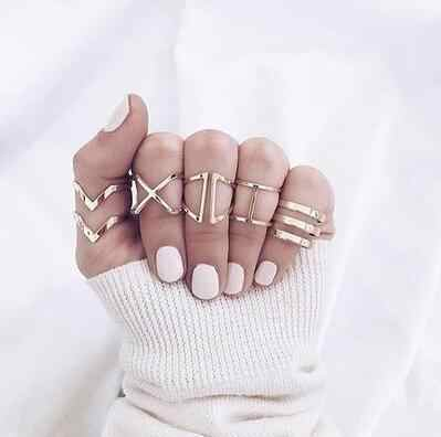5-piece Ring 2019 New Gold Cross Knuckle Geometry European And American Fashion Charm Ladies 5 Piece Set Ring Wholesale Sales