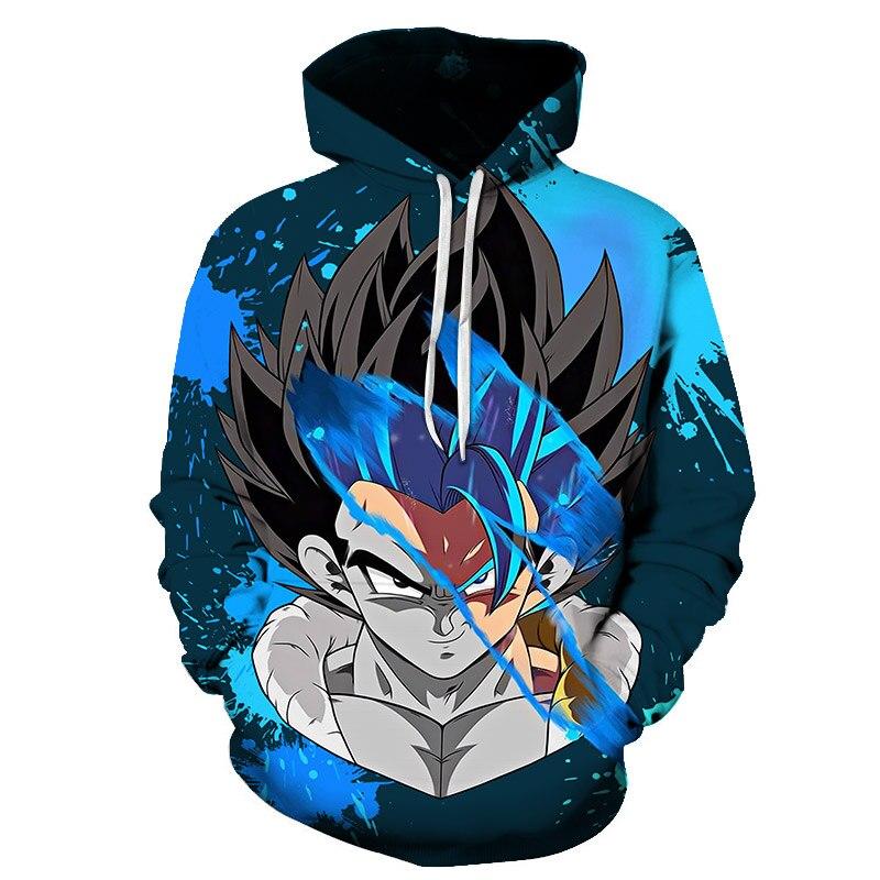 Dragon Ball Z Hoodies 3D Hooded Pullover Coats Sportswear Sweatshirt Dragonball Super Saiyan Son Goku Vegeta Outfit Outwear Tops