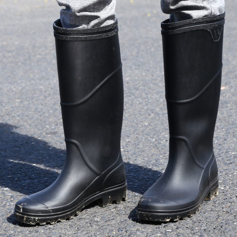 Rainboots Good quality PVC Rubber low Heels Non-slip Men Rain Boots Mid-calf Male water shoes Waterproof work Water Shoes botas image