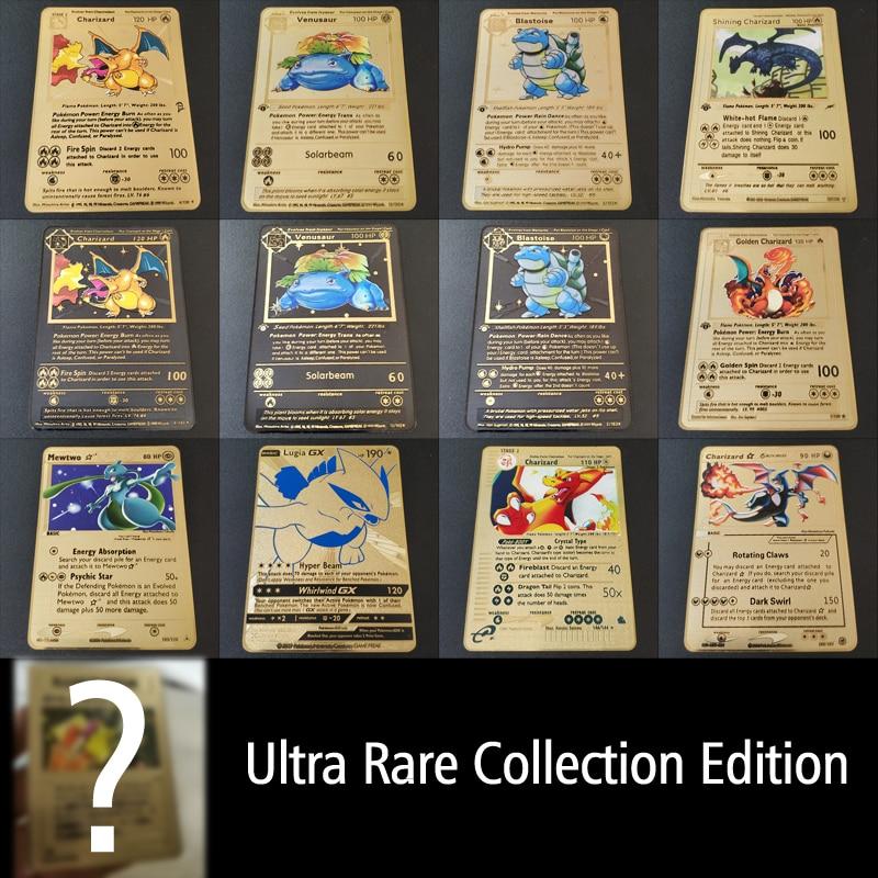Покемон Игры Аниме битва карта золотая металлическая карточка Чаризард Пикачу коллекция карточная фигурка Модель Детская игрушка подарок