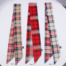 Women Headband Silk Scarf Multi-function Handbage Ribbon Wholesale Drop Shipping / Classic Plaid Printed Hair Accessories