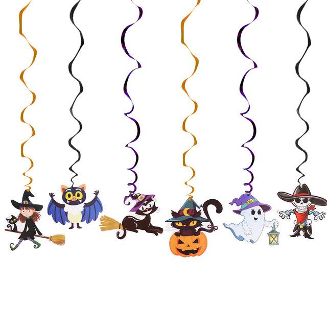 6pcs/set Creative Spiral Halloween Decoration Ideas Kindergarten School Halloween Party Hanging Decoration