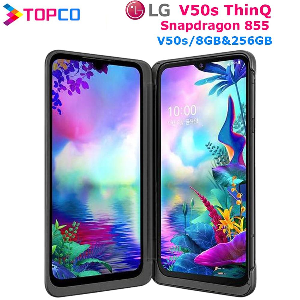 """LG V50S ThinQ Original desbloqueado LTE 5G NFC teléfonos Android Snapdragon 855 Octa Core 6,4 """"32MP y 12MP y 13MP 8GB y 256GB huellas dactilares"""