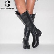 BONJOMARISA New 34-43 Elegant mid-calf Western Boots Women 2019 Casual Flat Zipper Boots Ladies Med Wide Heels Shoes Woman цена