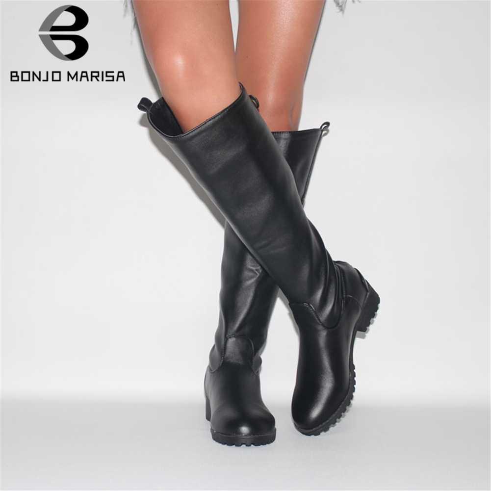 BONJOMARISA yeni 34-43 zarif orta buzağı batı çizmeler kadın 2019 rahat düz fermuar çizmeler bayanlar Med geniş topuklu ayakkabılar kadın
