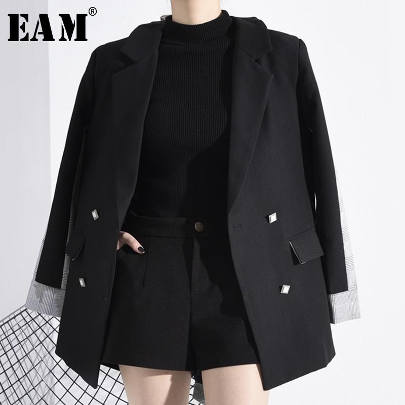 [EAM]  Women Black Back Plaid Bow Split Blazer New Lapel Long Sleeve Loose Fit  Jacket Fashion Tide Spring Autumn 2020 1N07201