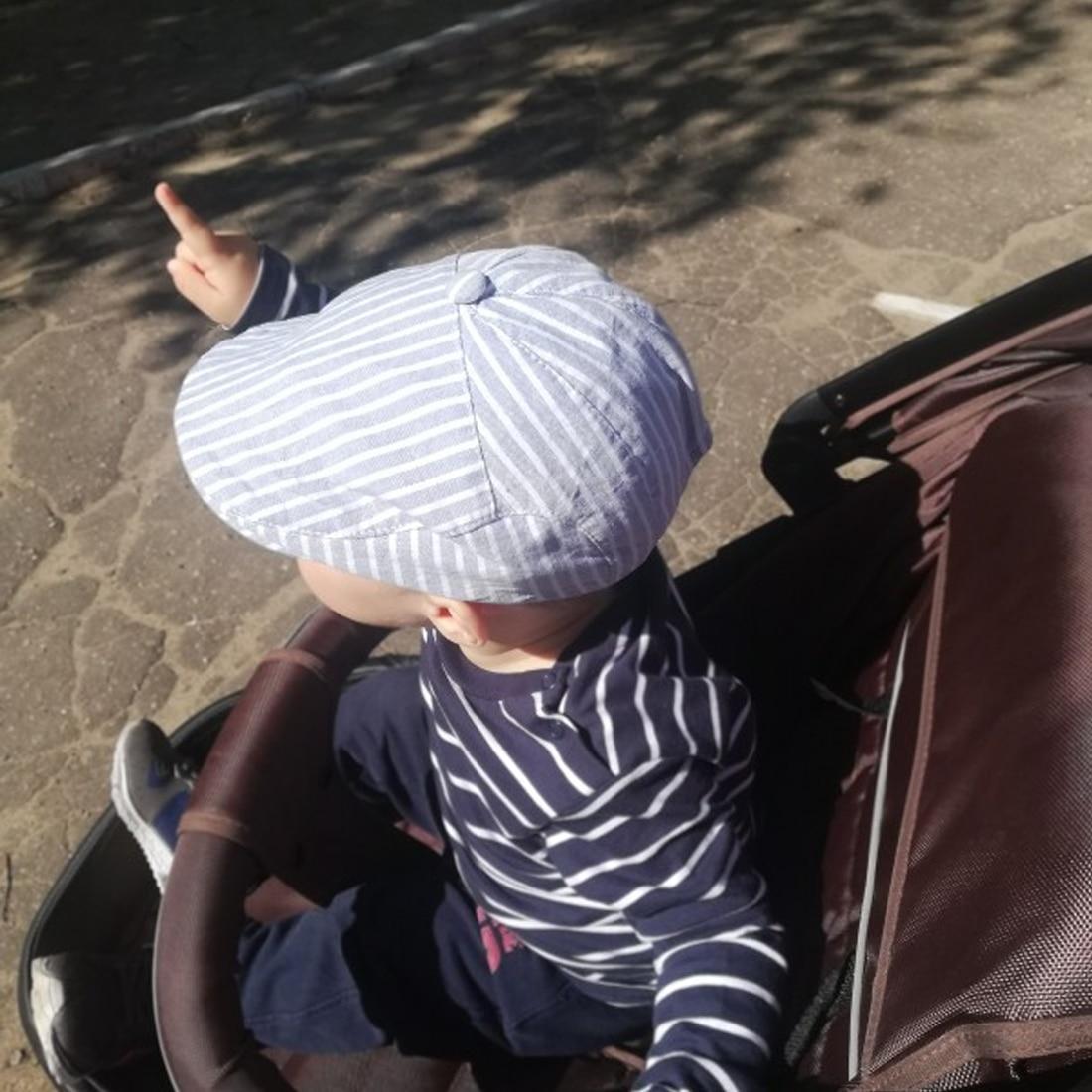 Children Stripe Classic Style Kids Fashion Cap Toddler Summer Berets Hat Boy Caps for Child Girl Berets Kids Hats in Hats Caps from Mother Kids