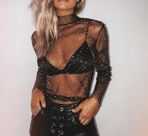 Hirigin 2020 Women Mesh Top Sexy Sheer T Shirt Transparent Tops Turtleneck See Through Clothes Female Costume Roupas Feminina