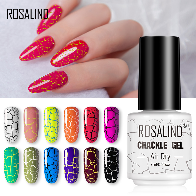 ROSALIND Crack Gel Nail Polish Extension Color Base Of Nail Varnish Hybrid Manicure Set For UV Led Semi Permanent Base Top Coat