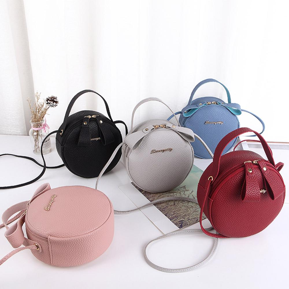 Women Litchi Pattern Round Shoulder Messenger Handbags New Female PU Leather Crossbody Casual Small Satchel Bags Bolso Femenino