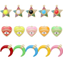 ZHUKOU CZ crystal star moon small charms for jewelry making accessories women DIY handmade earrings charms Supplies model:VD726