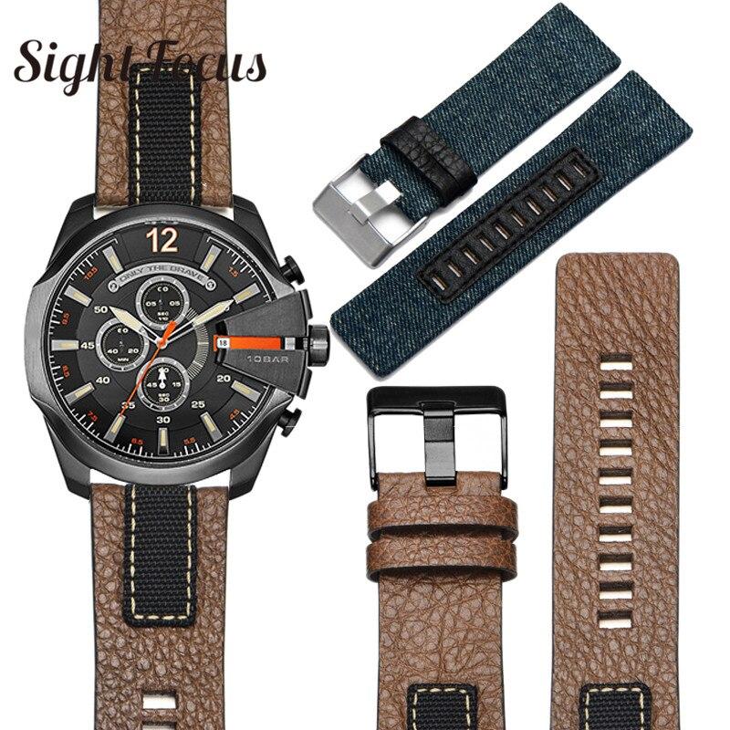 Cowboy Denim Canvas Leather Watchband for Diesel Watch Strap 26mm STRONGHOLD Bands DZ4318 DZ4345 DZ4354 Man Bracelets Brown Belt