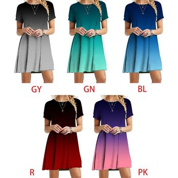 Women Short Sleeve O-Neck Swing T-Shirt Dress Colorblock Gradient Loose Sundress Y5GC image