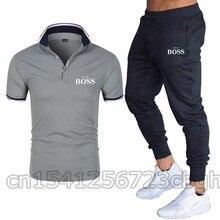 2021 лето мужчины% 27 с короткими рукавами поло рубашка босс бизнес лацкан повседневная брюки спортивный костюм спортивная одежда дышащий британский мода