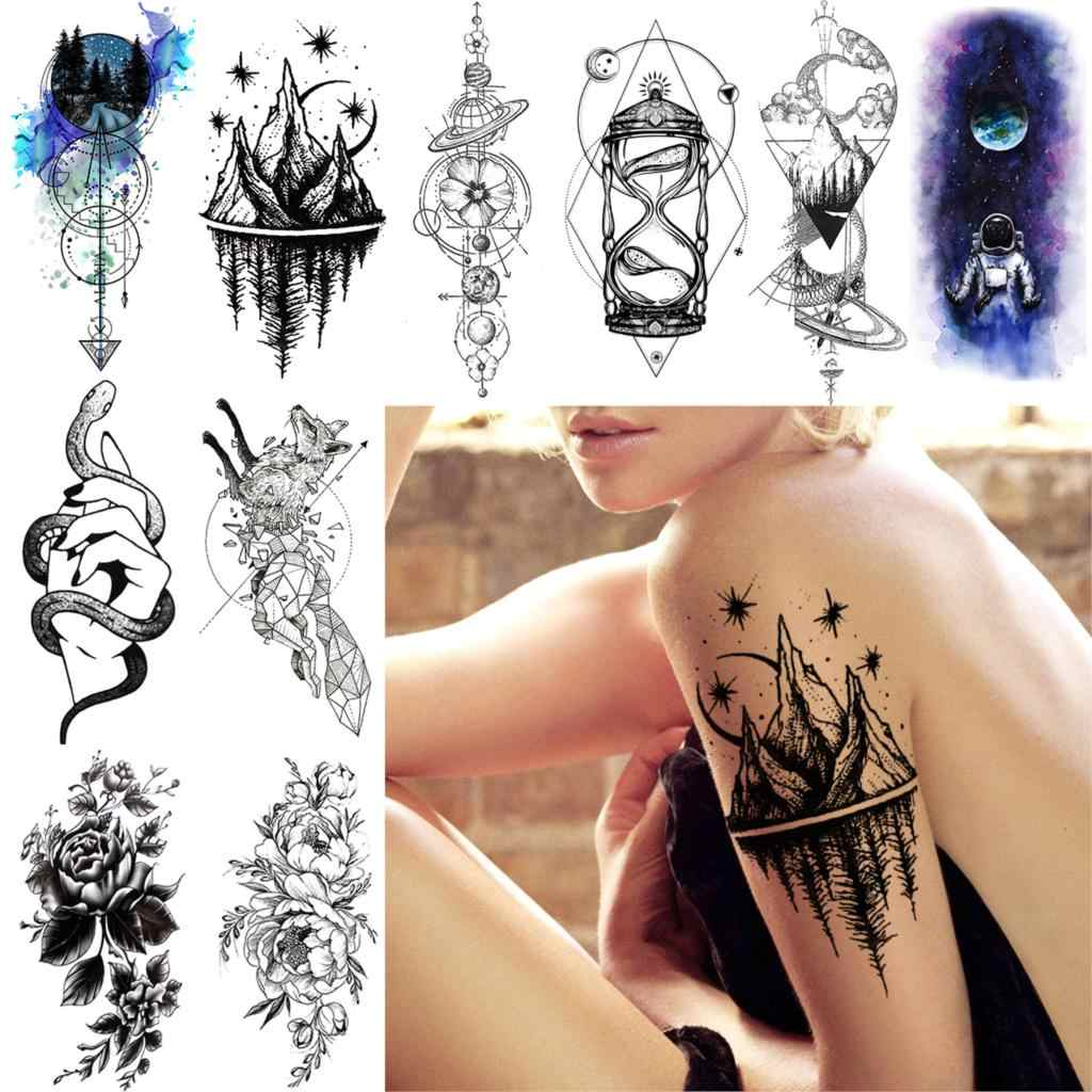 Long Lasting Men Women Temporary Tattoo Sticker Fake Triangle Star Mountain Tattoo DIY City Hourglass Body Art Tatoos Waterproof