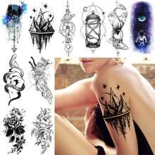 Tatuagem temporária de longa duração dos homens das mulheres falso triângulo estrela montanha tatuagem diy cidade ampulheta arte do corpo tatoos à prova dwaterproof água