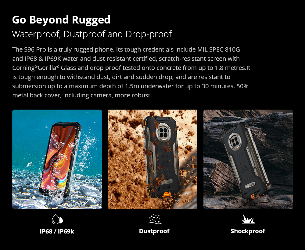 World Premiere DOOGEE S96 Pro Rugged Phone 48MP Round Quad Camera 20MP Infrared Night Vision Helio G90 Octa Core 8+128GB 6350mAh