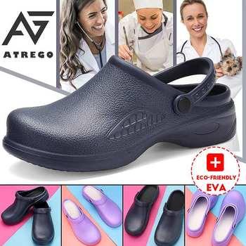 AtreGo Womens Chef pielęgniarstwo buty robocze bhp olejoodporne antypoślizgowe lekkie wodoodporne plażowe mieszkania sandały peeling buty tanie i dobre opinie AG ATREGO RUBBER CN (pochodzenie) Buty Wtrysku EVA Wysokość zwiększenie NONE Niska (1 cm-3 cm) 0-3 cm Biuro i kariera