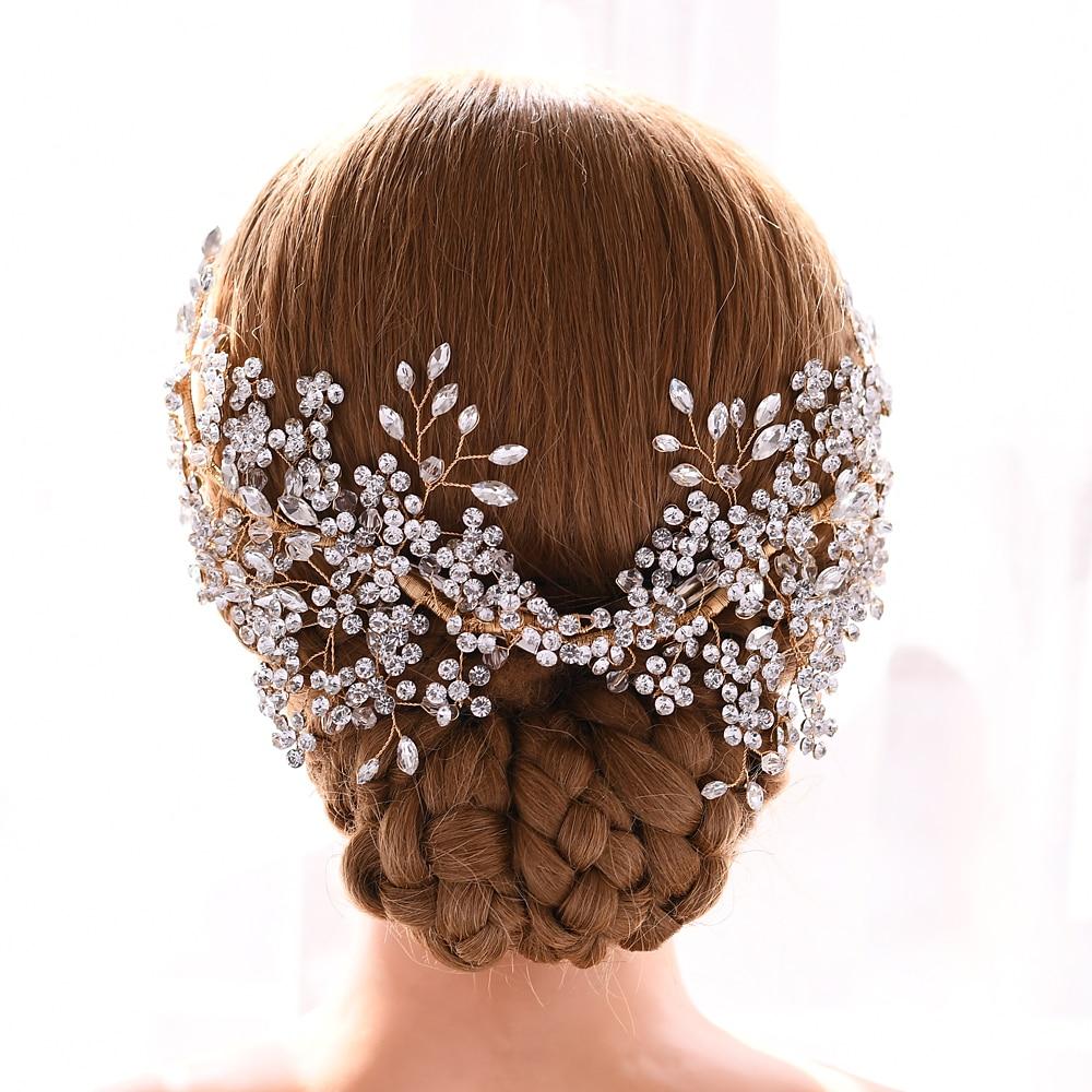 TOPQUEEN Wedding Hair Vine Gold Hair Piece Wedding Rhinestone Headbands For Bride Crystal Hair Jewelry Womens Tiara HP253