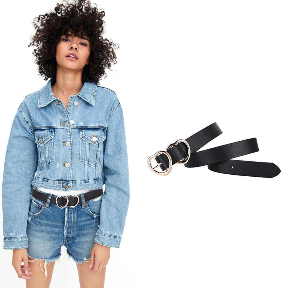 Горячая в форме сердца широкий черный пояс с металлической пряжкой для женщин девочек подростковые джинсы шорты Дамское Платье CGU 88