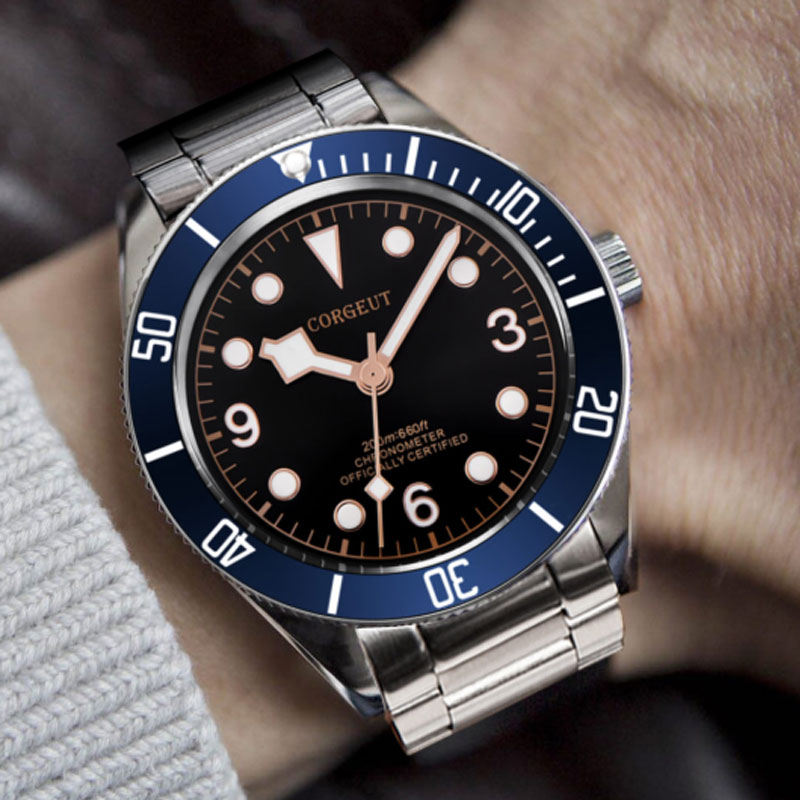 Corgeut Mechanical Watch Luminous Schwarz Bay Men Automatic Sport Swim Clock Luxury Brand Male Mechanical Wrist Watches