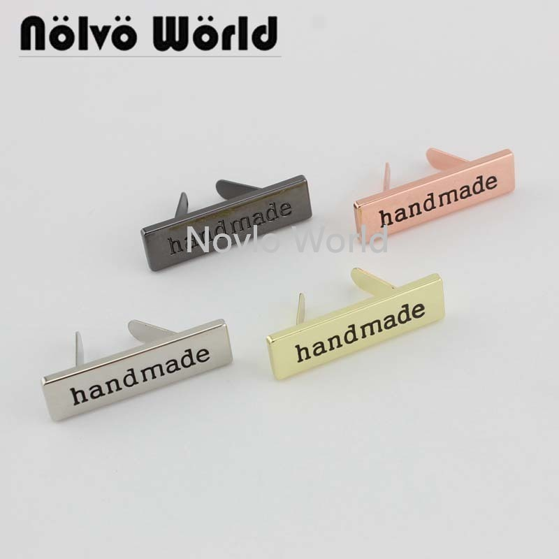 20-100 Pieces,8 Colors 36*10mm Handmade Rectangle Metal Handmade Purse Label Tags,shoes Bags Hand Made Metal Labels