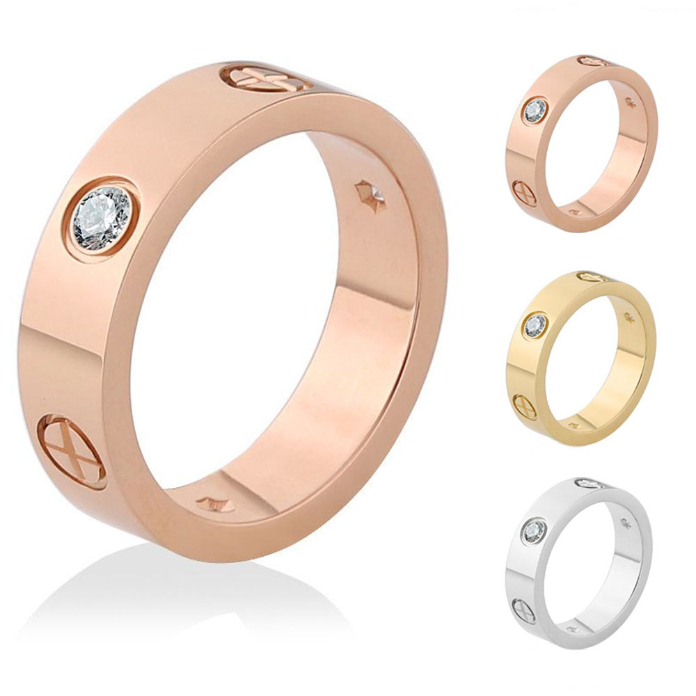 Cross Screw Rings For Women Accessories Stainless Steel Men Jewelry Couple Engagement Gold Luxury Crystal Love Wedding Ring