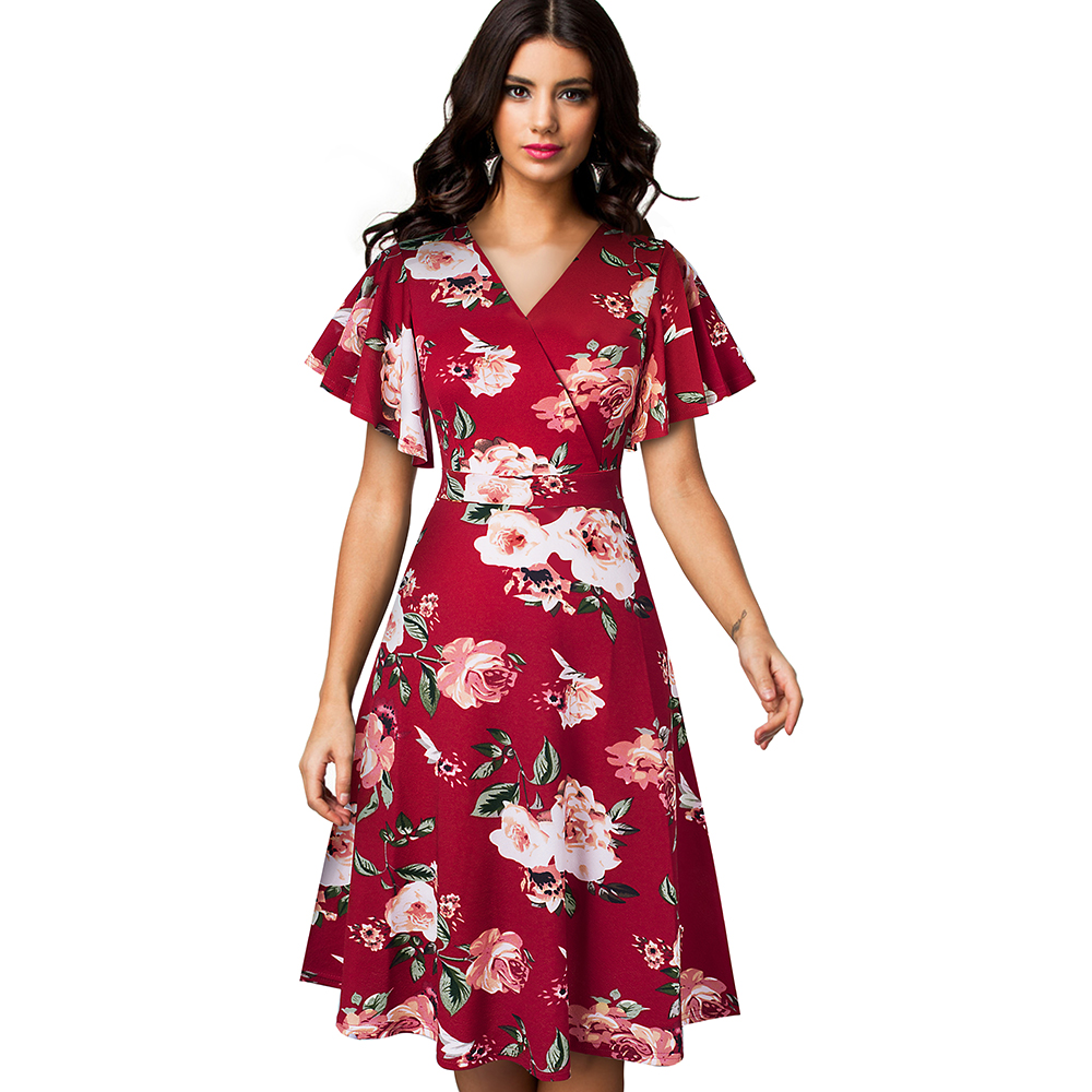 Image 3 - Nice forever Spring Elegant Floral with Ruffle Sleeve vestidos Business Party A Line Women Flare Dress A193Dresses   -