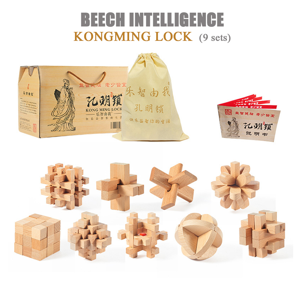 Wooden K-M lock 5 or 9 pieces/set gift boxed classical disassembly building blocks educational toys children's gifts