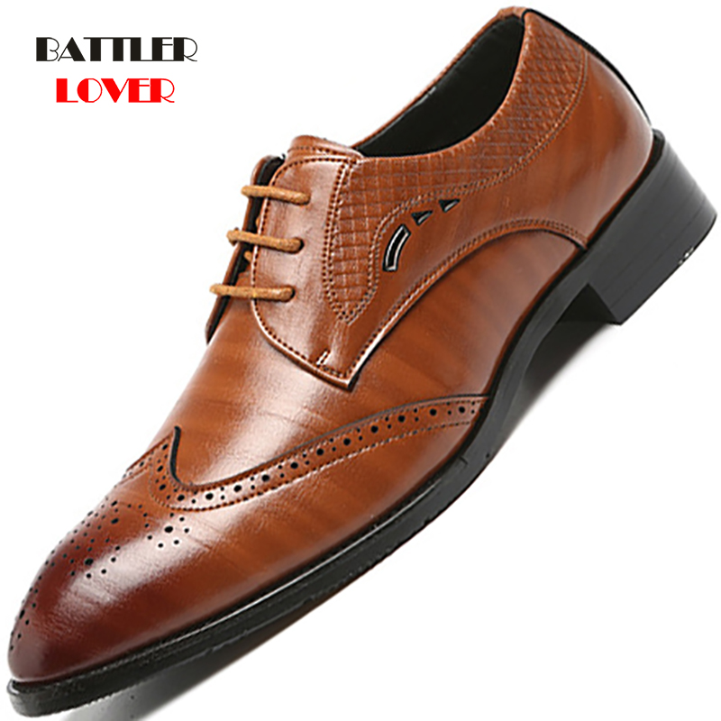 Brand Brogue Brown Red Black Men Business Dress Shoes Pointed Toe Men