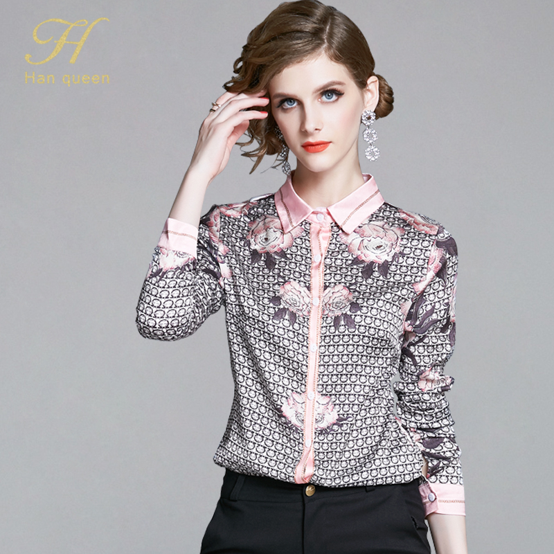 H Han Queen New Women Blouses Vintage Floral Print Ladies Tops Long Sleeve Casual Chiffon Blouse Female Work Wear Office Shirts