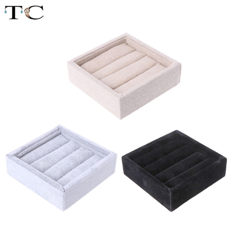 Jewelry Display Ring Tray Velvet Linen Rings Holder Small Tray For Personal Jewellry Rings Organizer