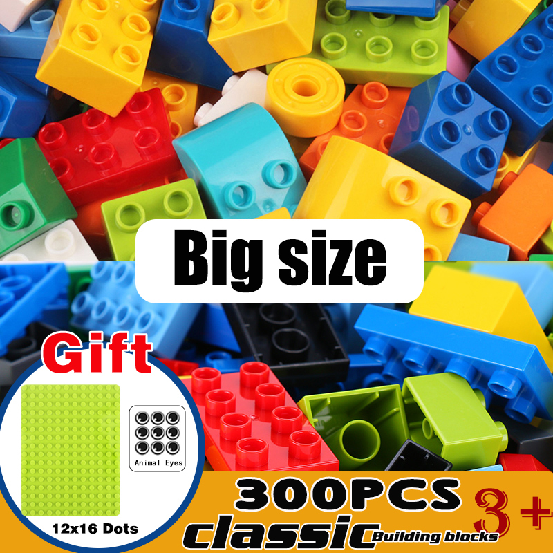 50-200Pcs Big Size Building Blocks DIY Bricks Base Plates Compatible Construction Toys For Children Baby Giocattoli Duplo Gift