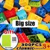 Bloques de construcción de gran tamaño para niños, Base de ladrillos DIY, placas, juguetes de construcción compatibles, Giocattoli, Duplo, 50-200 Uds.