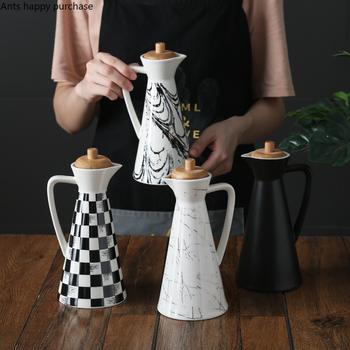 Drewniana pokrywa ceramika zasobnik do oleju strona główna słoik na przyprawy zaślepka uszczelniająca przybory kuchenne o dużej pojemności 400ml 800ml ocet Pot butelka oleju tanie i dobre opinie Sól świnie Piwnic i serwerów ceramic