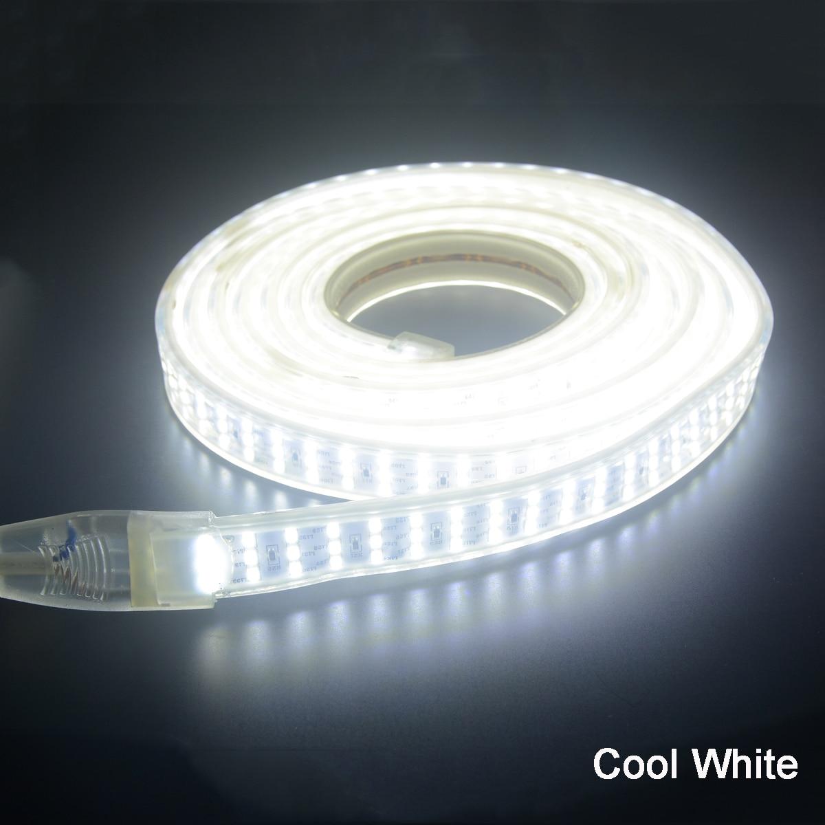 Lumière de bande menée 220v SMD 2835 ruban flexible 276 leds/m 1m 2m 4m 5m 6m 7m 8m 9m + Puissance prise UE